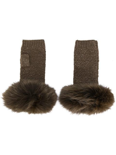 Yves Salomon Fox Fur Fingerless Gloves