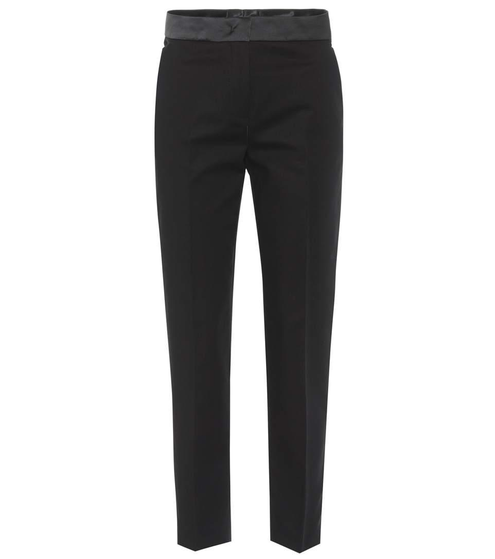 Moncler Satin Waist Stretch-cotton Trousers In Black