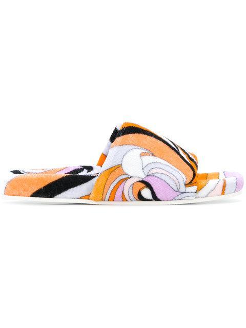 Emilio Pucci Printed Slides - Yellow & Orange