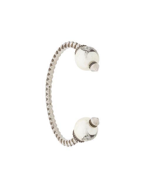 Gucci Faux Pearl Embellished Bracelet In Metallic