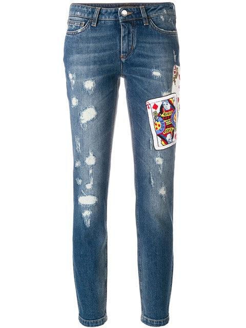 Dolce & Gabbana Playing Cards Patch Jeans
