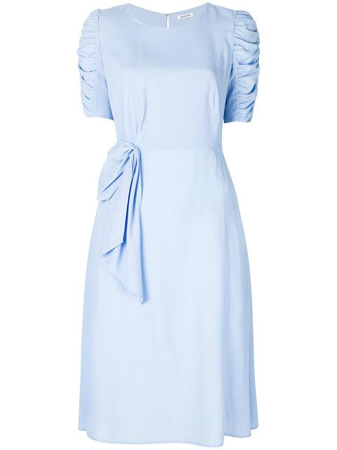 P.a.r.o.s.h. Ruched Sleeves Midi Dress With Bow Drape Detail