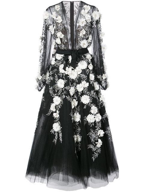 Marchesa Embellished Lace Gown In Black