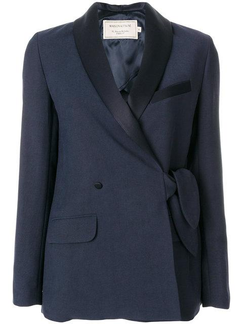 Maison KitsunÉ Shawl Collar Knotted Jacket In Blue