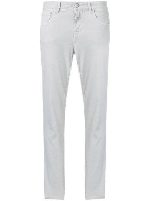 Closed Cropped Tapered Trousers - Grey
