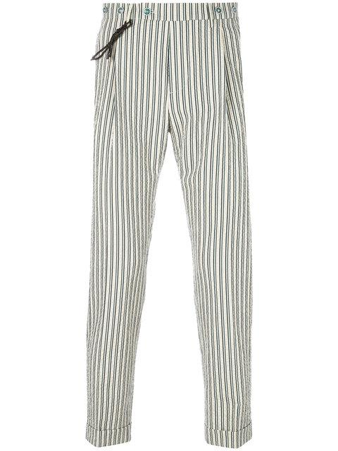 Berwich Striped Tapered Trousers In Neutrals