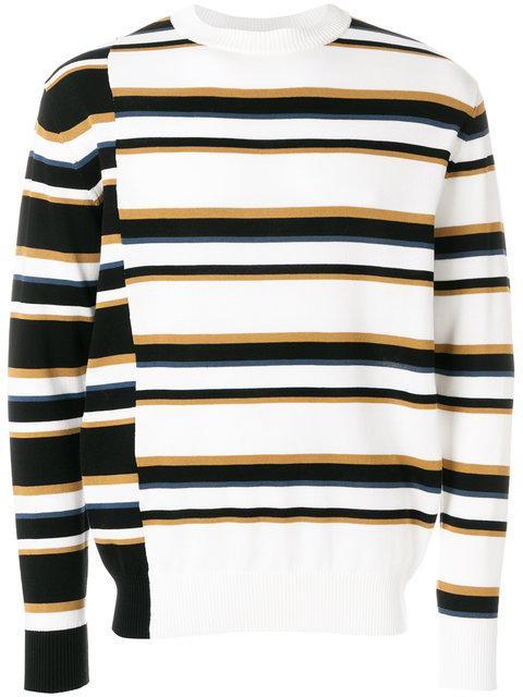 Maison KitsunÉ Surf Striped Jumper - White