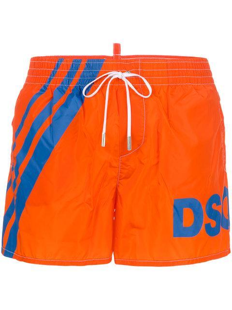 Dsquared2 Dsq Logo Printed Swim Shorts - Orange