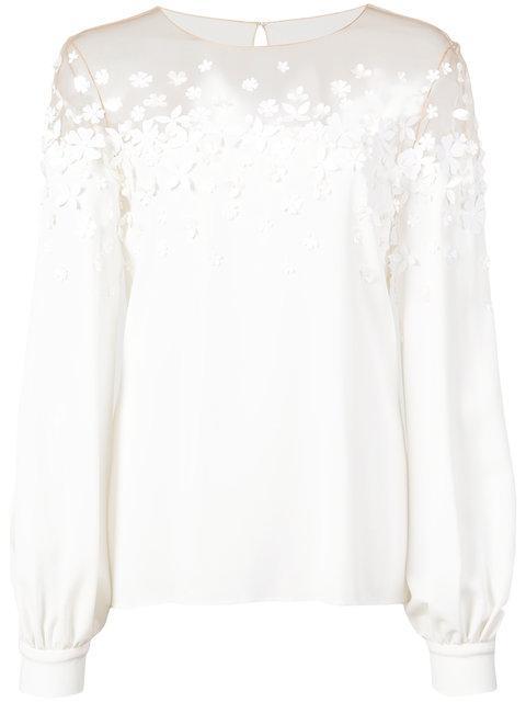 Oscar De La Renta Floral Embroidered Blouse - White