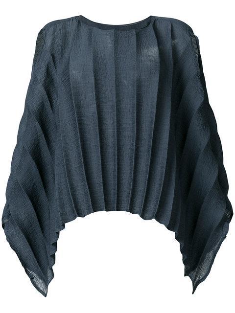 Issey Miyake Textured Stripe Single Sleeve Top