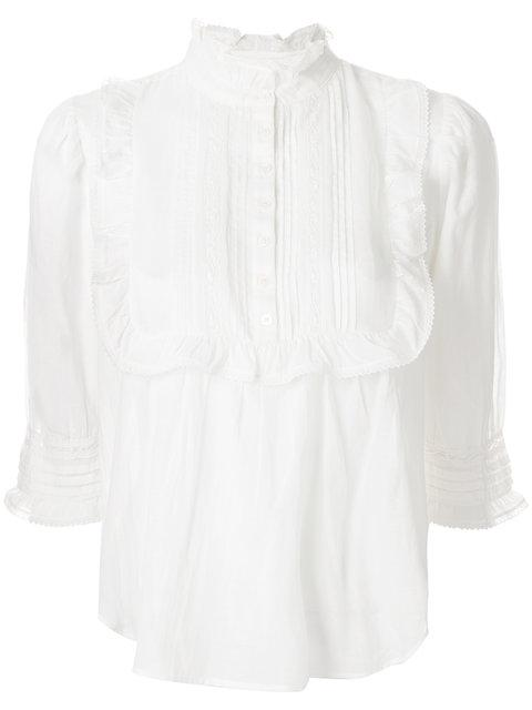 Zadig & Voltaire Tix Frilled-detail Cotton-blend Blouse In White