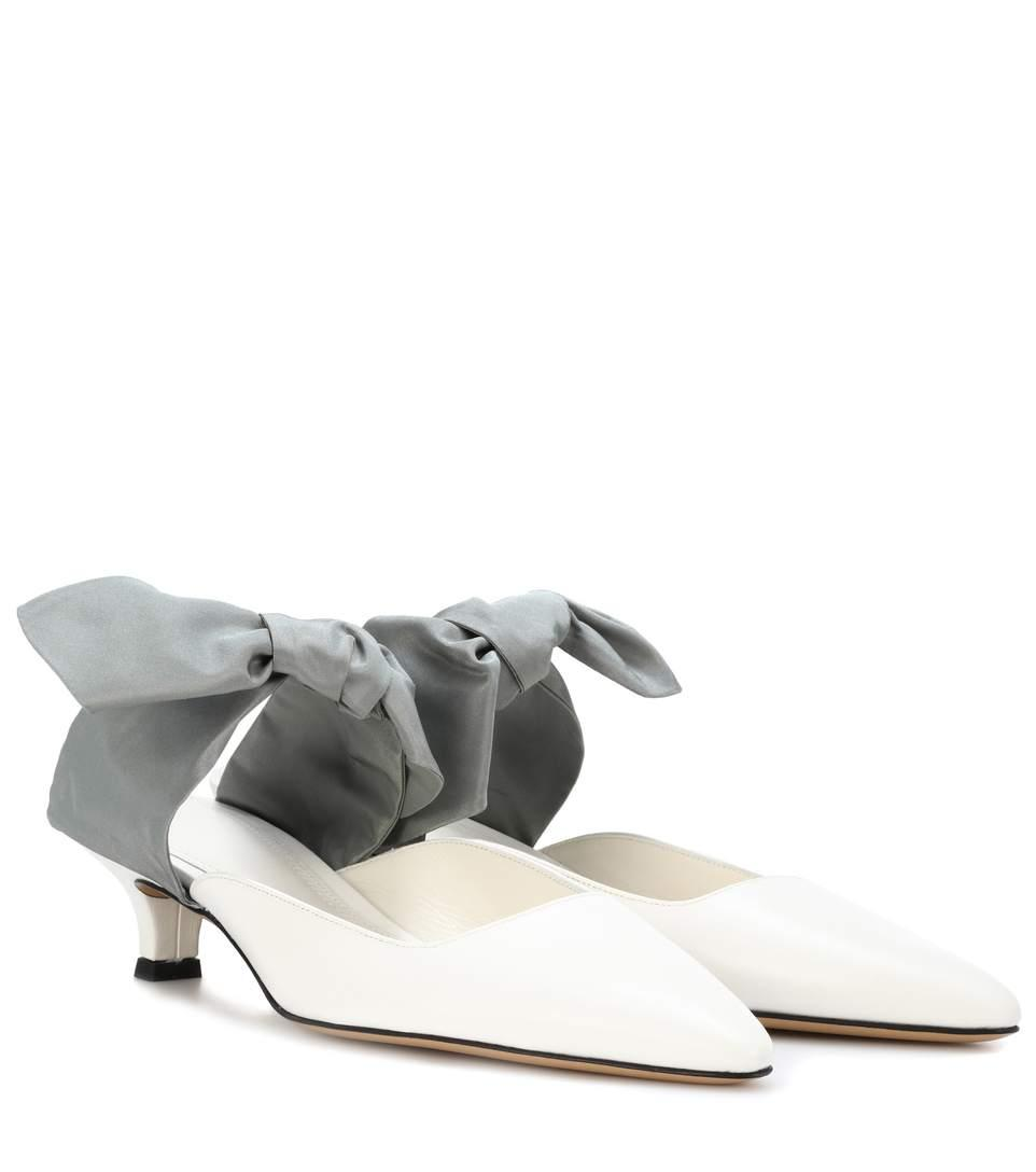 The Row Coco Leather Mules In White