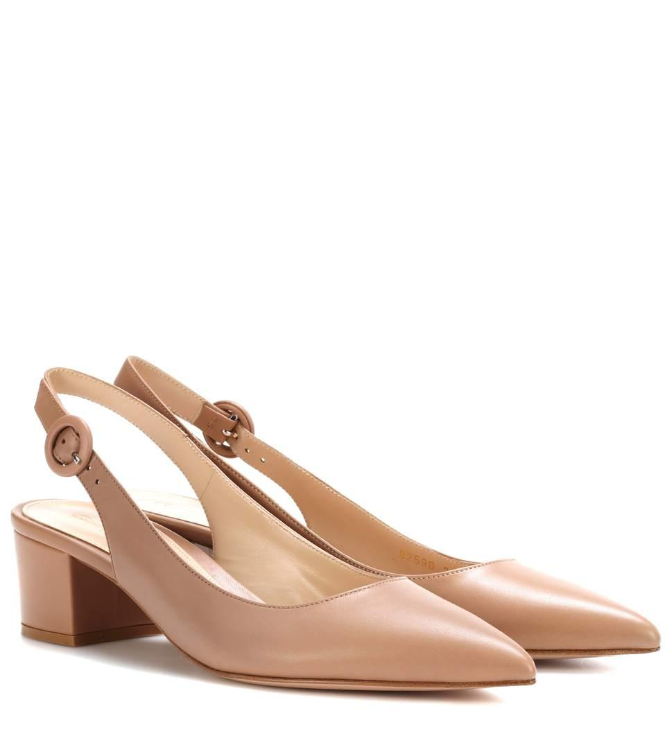 Gianvito Rossi Amee Leather Slingback Pumps In Beige