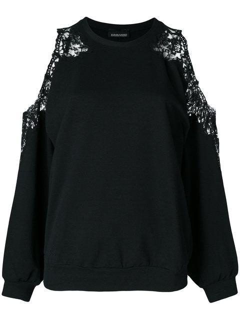Ermanno Ermanno Lace Insert Cold Shoulder Sweatshirt