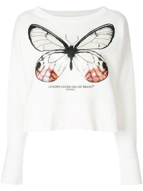 Golden Goose Pearlescent Butterfly Sweatshirt In White