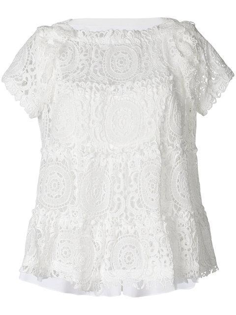 Sacai Flared Lace T-shirt - White