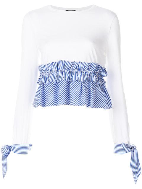 Ermanno Ermanno Striped Ruffled Top