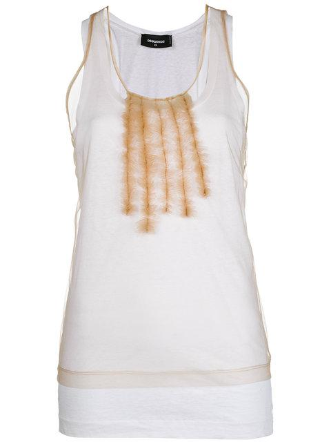 Dsquared2 Ruffle-trimmed Tank Top - Nude & Neutrals