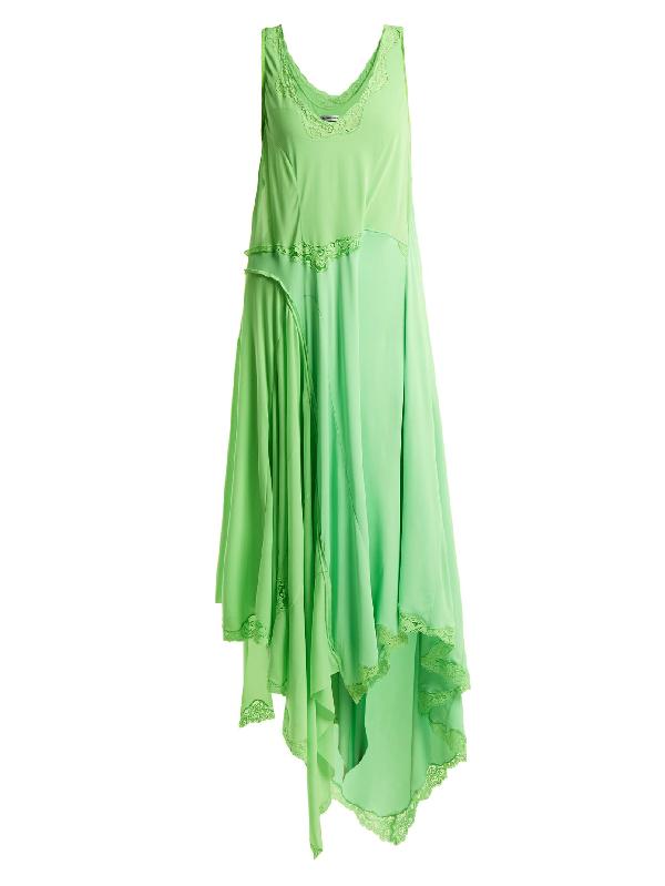 Balenciaga Round-neck Draped Dress In Neon-green