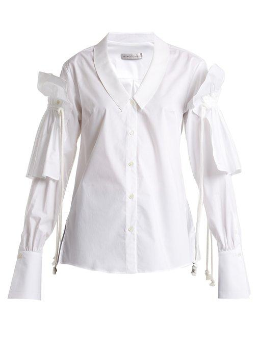 Palmer Harding Removeable-ruffle Long-sleeved Shirt In White