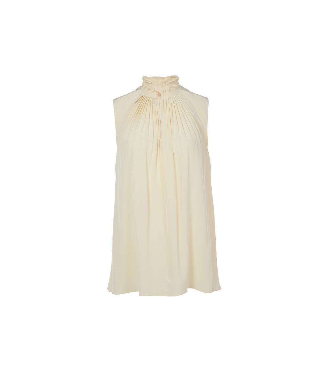 Tibi Butter Arielle Silk Sleeveless Top