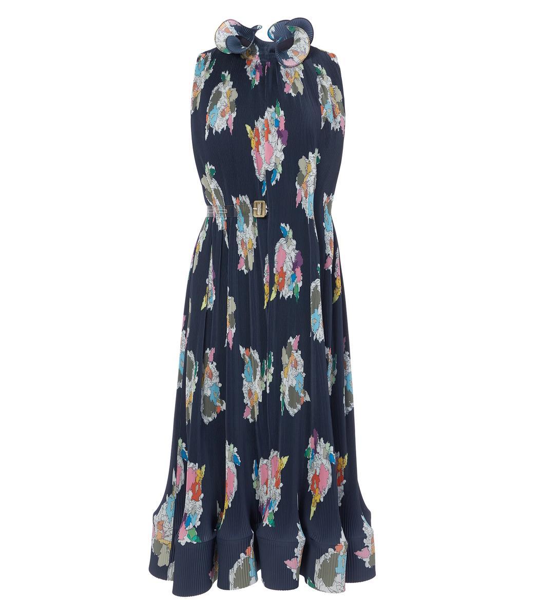 Tibi Navy Multi Pleated Camellia Sleeveless Dress