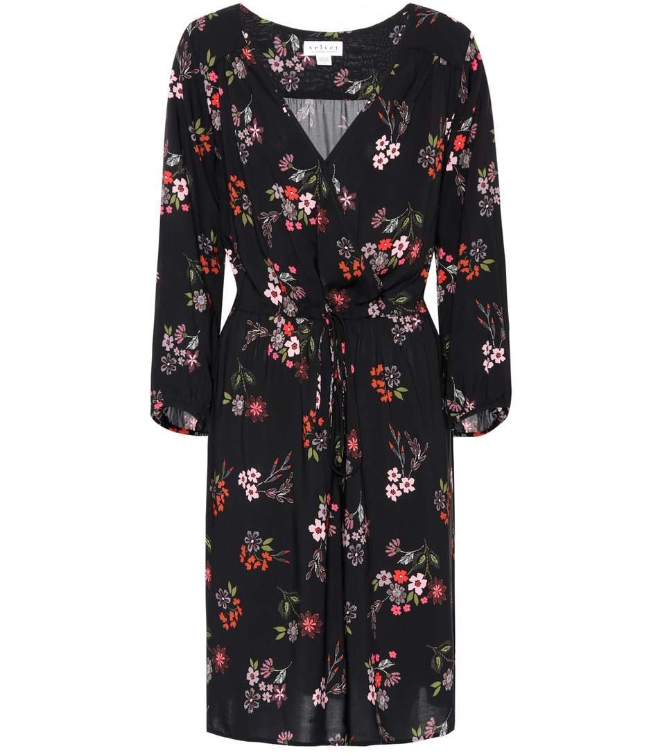 Velvet Floral Wrap-effect Dress In Black