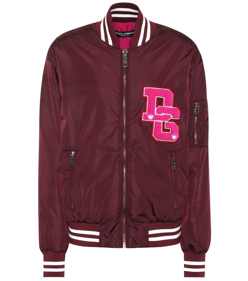 Dolce & Gabbana Varsity Bomber Jacket In Red