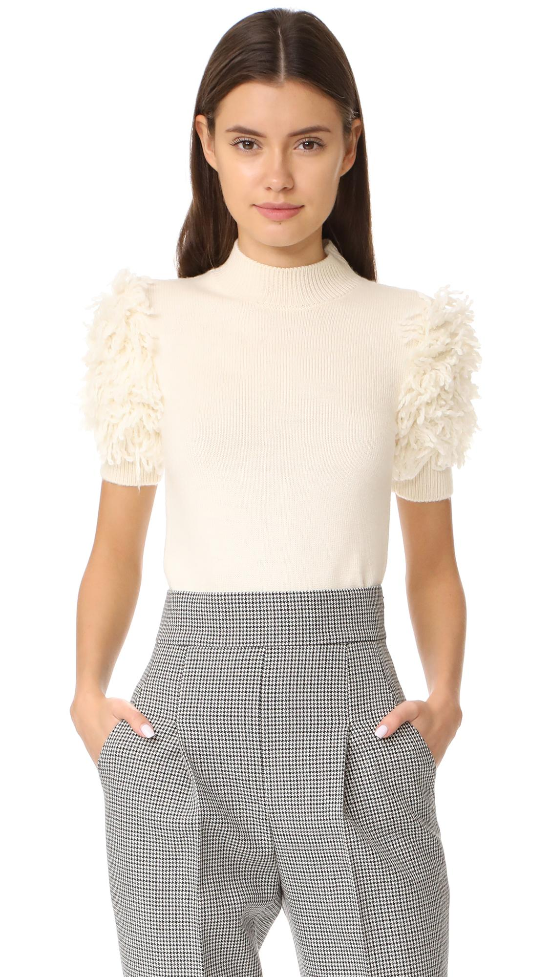 Carven Fringed Sweater In Blanc