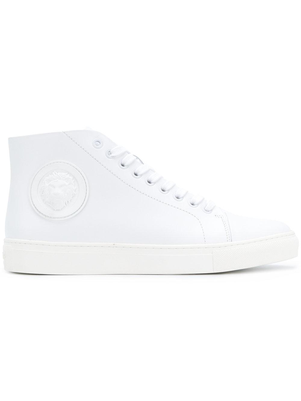 Versus Hi-top Lace Up Sneakers In White