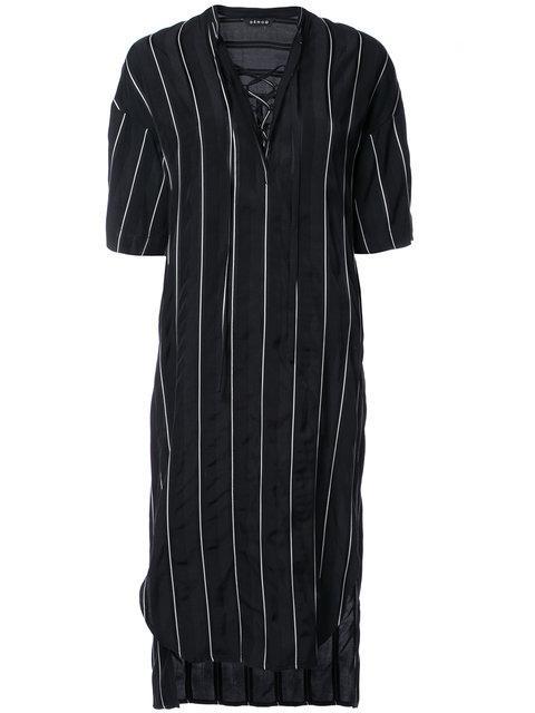 Demoo Parkchoonmoo Striped Short Sleeved Dress In Black