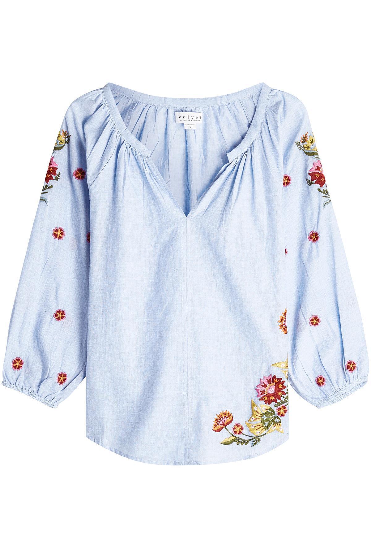 Velvet Arabelle Embroidered Cotton Blouse In Multicolored