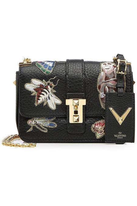 Valentino Garavani Leather Shoulder Bag With Embroidered Motifs In Multicolored