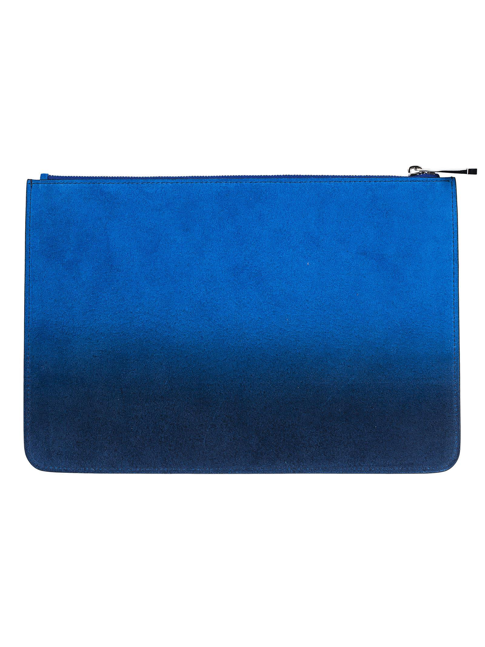 Givenchy Degrade Logo Pouch In Blue-silver
