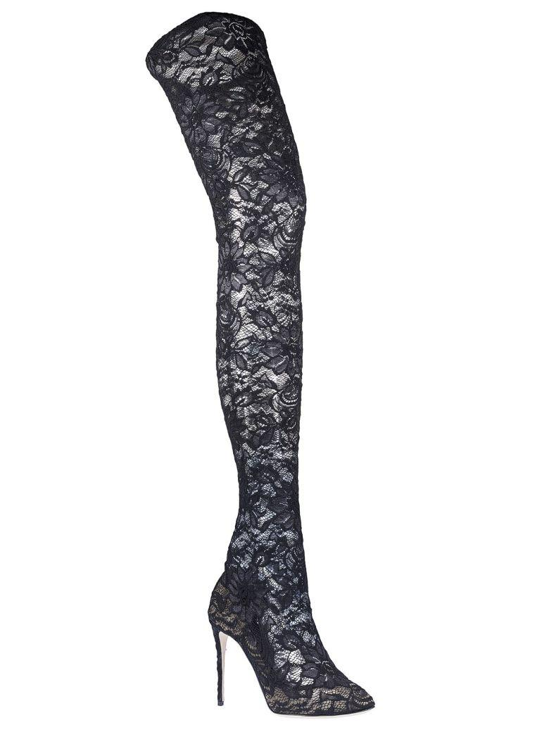 Dolce & Gabbana Lace Over-the-knee Boots In Black