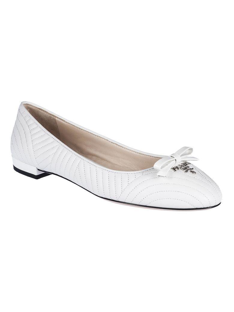 Prada Quilted Ballerinas In White