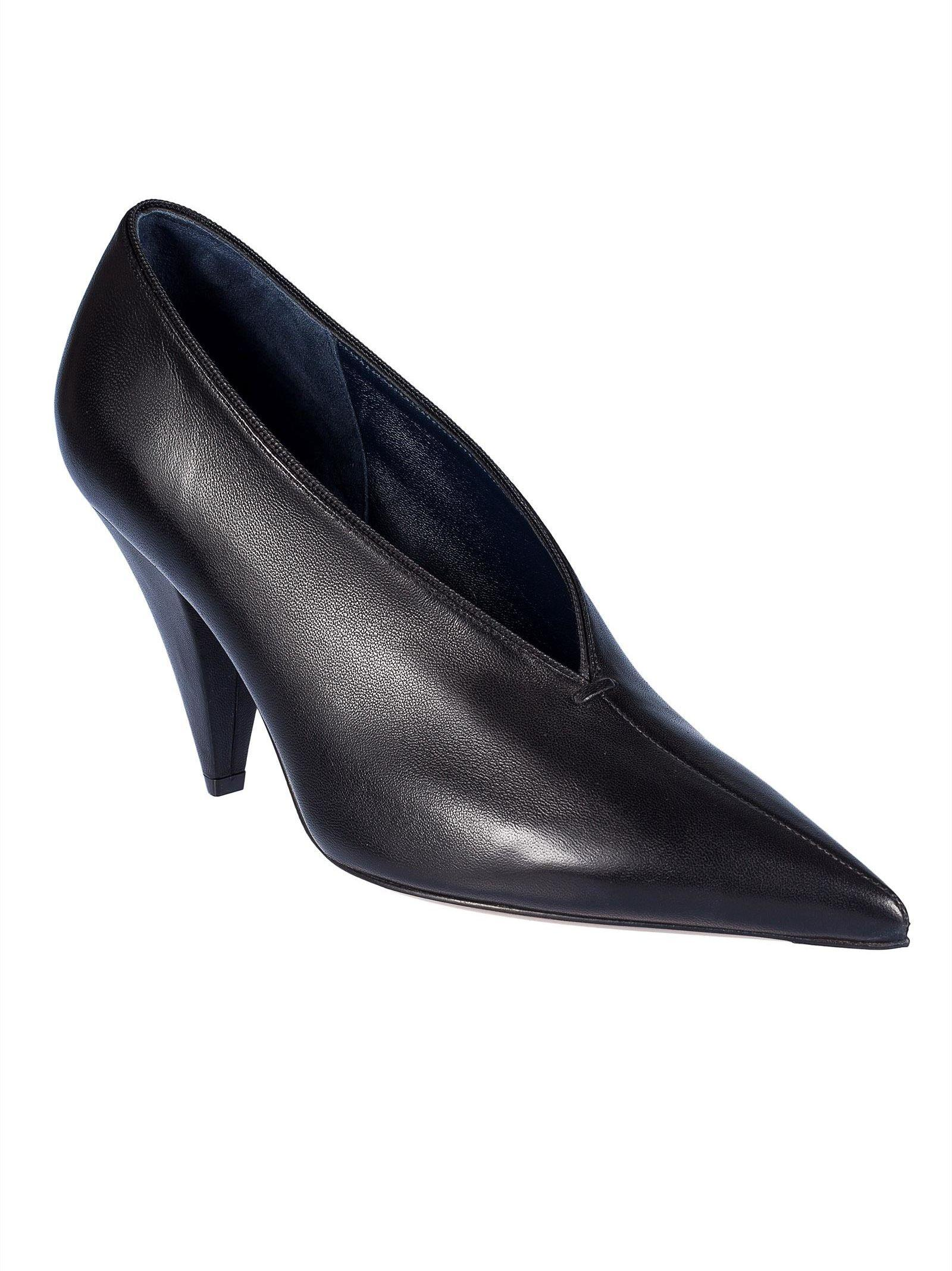 Celine C Line V Neck Pumps In Black