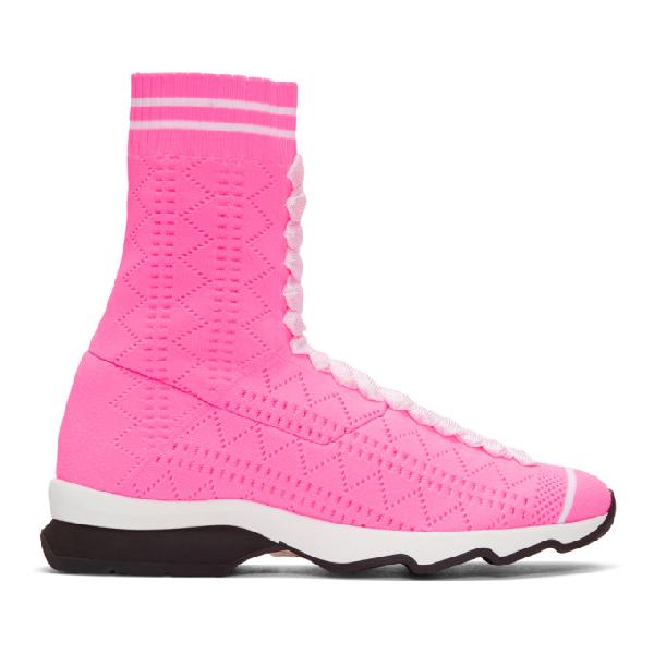 Fendi Runway Sock High Top Sneakers In F09g8 Fusch