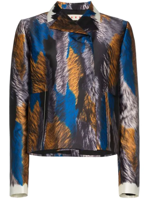 Marni Printed Cropped Silk Jacket In Multicolour