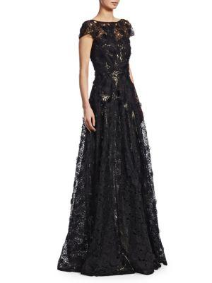 Naeem Khan Illusion Embroidered Short-sleeve Gown In Black