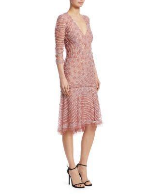 Naeem Khan Beaded Cocktail Dress In Pink