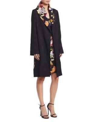 Naeem Khan Long-sleeve Floral-print Trench Coat In Black Multi