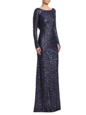 Naeem Khan Irredescent Sequined Gown In Navy