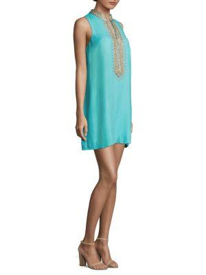 Lilly Pulitzer Jane Embroidered Shift Dress In Blue Ibiza