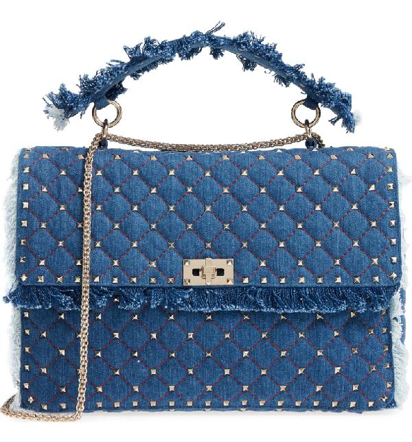 Valentino Garavani Maxi Rockstud Spike Denim Shoulder Bag - Blue