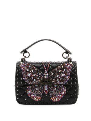 Valentino Garavani Rockstud Butterfly Shoulder Bag In Black