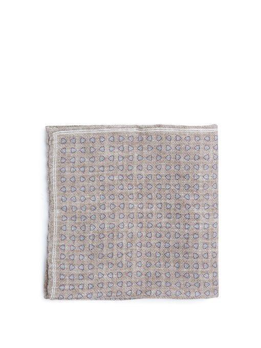 Brunello Cucinelli - Geometric Print Linen Blend Pocket Square - Mens - Beige