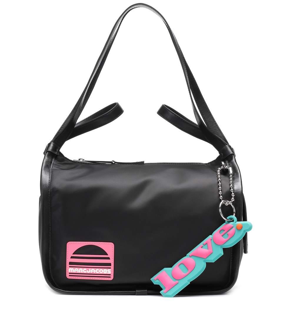 Marc Jacobs Leather-Trimmed Shoulder Bag In Black