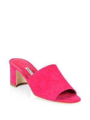 Manolo Blahnik Rapallato 50 Suede Mules In Pink
