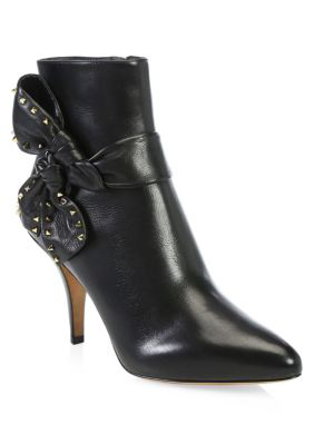 Valentino Garavani Studded Side Bow Ankle Boots In Black
